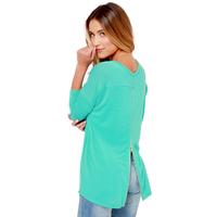 Sweater Blue-green terry knit Long Sleeve golden zipper split back pullover sweater