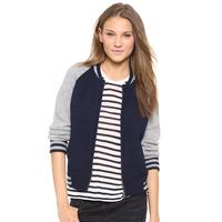 Sweater  College wind hit color raglan sleeves rib knit cardigan jacket sweater jacket Slim