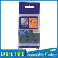 Cheap China 6mm black on fluorescent orange tz label tape tz-b11