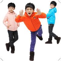 New 2014 Children's Outerwear Brand Fashion Kids Down Jacket Hooded Bright Color Boys Girls Clothes Set Coat+Pants 2pcs Set 4-11
