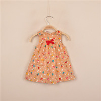 2014 Autumn New Arrival Bebe Girl's Sleeveless Corduroy Dress with Bow for Infant/Toddler 9M/12M/18M/24M/36M