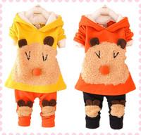 Autumn Winter New 2014 Girls Clothing Sets Cartoon Panda Pattern Thick Baby Girls Clothes Lovely Girls Clothing 2pcs Set 1-9