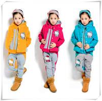 New 2014 Hello Kitty Girls Clothing Sets Thicken Warm Children's Winter Clothing Sets Brand Coat+Waistcoat+Pants 3pcs Set