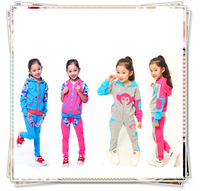 Spring Autumn New 2014 Girls Clothing Sets Fashion Cartoon Pattern Children's Sports Suit Children Hoody Coat+Pants 4-15