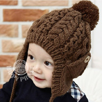 Free shipping 1-pc 7 colors New Arrival kids crochet hat Handmade children knitted hat child winter cap baby earflap headgear