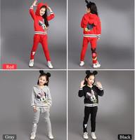Minnie Mouse Cartoon Children's Clothing High Quality Girls Clothing Sets Brank Kids Sports Suit Girls Set Fall 2pcs Set 4-13