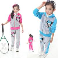 New 2014 Leisure Girls Sports Suit Velvet Cartoon Children Hoody Brand Kids Tracksuits Spring Fall Coat+Pants 2pcs Set 3-13