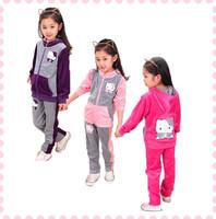 Fashion Cartoon Children's Clothing Sets Hello Kitty Girls Clothes Brand Kids Tracksuits Set Girl Fall Coat+Pants 2pcs Set 4-15