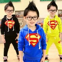 New 2014 Kids Clothes Sets Superman Cartoon Boys Sports Suits Roupas Menino Children Clothing Brand Spring Autumn 2pcs Set 2-8