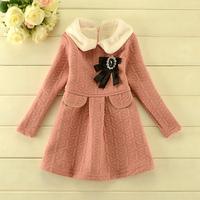 2014 New autumn,girls princess dress,children casual dress,long sleeve,brooch,3 colors,5 pcs/lot,wholesale,1816