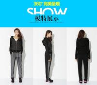 Large Size XL,2XL,3XL,4XL Women Casual Black 2pcs Suit Set Fashion Tracksuit Free Shipping 663866377