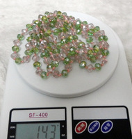 DIY CRYSTAL NECKLACE WITH LINE FASHION  SWEETER GREEN WITH PINK
