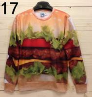 Unisex Space Galaxy 3D realistic Hamburger Food Print Sweatshirt Sweater Hoodies T shirt
