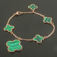Fashion Brand Green Peacock Stone Four Leaf Clover Charm Pendant Bangle Bracelet Ladys Stainless Steel Malachite Wristlet Women