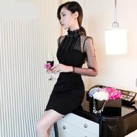 2014 Korean version of Hitz Slim sexy beaded chiffon gauze perspective stitching package hip nightclub dress tide