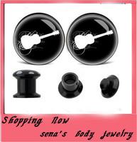 Ear expander tragus body jewelry 160pcs/lot acrylic uv print violin logo flesh tunnel stash plug calssic piercing wedding gift