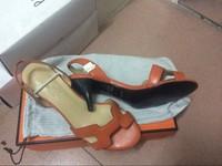 2014 New H Buckle Brand Designer Genuine Leather High Heel Sandals For Women Size 34 Classic Orange