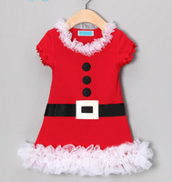 Christmas Costume Santa Girl's Lace Edge Party Dresses Kids Short Sleeve Cotton Party Suits Clothing For Baby Gift