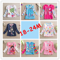 Baby Girls T-shirt Nova Kids Long sleeve Tees Baby Cartoon Clothing Rabbit Striped sweater Peppa pig Doraa 18 to 24 months