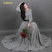 2014 New women's autumn print long dress O-neck lantern sleeve slim maxi dress plus size vintage floor-length dress