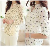 NEW formal blouse Floral printed two-piece chiffon Half sleeve shirt women blouses tops cheap clothes china  camisas femininas