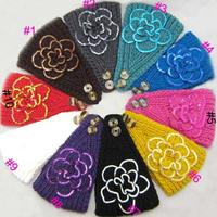 2014 New women knitted sequins headband flower Crochet Headwrap Ear Warmer for Girls Teens Women 10 pcs/lot