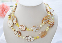 """Natural 35"""" 30mm yellow ellipse texture facet agate bead necklace"""