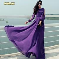 2014 New arrival purple long chiffon dress off the shoulder long sleeve slim maxi dress large size floor length dress