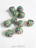 NBB126   Nepalese brass loose beads,vintage turquoise beads 10 beads lot Wholesale Nepal Handmade Beads