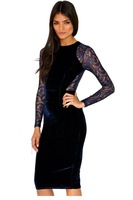 ropa mujer vestidos femininos 2014 sexy design Navy Black Patchwork  Lace Detail Midi winter Dress desigual vestido de festa