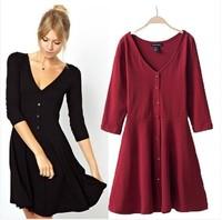 Plus size S-XXL women autumn dress 2014 long sleeve sexy v-neck cotton Knitting casual dress winter spring basic dress