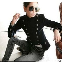 Free Shipping Women's Warm Winter Outcoat. Fashion Slim Handsome Double-breasted Woolen Coat. Super Cool Girl Short Jacket