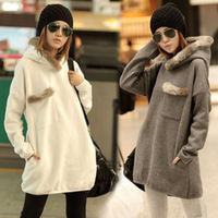 Women Winter Sweatshirt Dress Casual Hoody With Fake Animal Fur Decorated Long Style Sports Suits Solid Color M L XL XXL NZH008