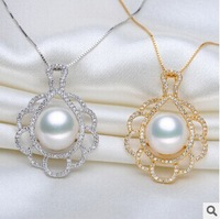 fashion women's  925 silver Plum blossom crystal boundary 11-12 mm natural freshwater pearl necklace