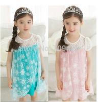 1 set free shipping  Girl Summer sleeve Dress Frozen Princess Elsa  Cotton Lace Tutu Mesh Snow Casual Dress