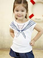 wholesale 2014 Summer Girls T-shirt Children Navy Style Printed White Short Sleeve Tops Free Shipping 5 PCS