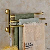 Free Shipping Wholesale And Retail Fashion Gold-plate 3 Rotation Rod Towel Shelf/rack Bathroom Brass Towel Rack