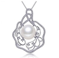 fashion women's  925 silver hollow out leaves 11-12 mm natural freshwater pearl crystal pendant necklace