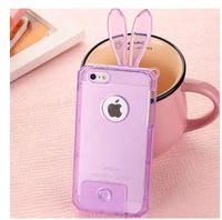 For iPhone 5S Phone cases,2014 Lovely Crystal Rabbit Soft TPU Case For iPhone 5S/4S,With Screen protector+Free shipping