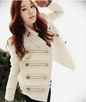 2014 New Women's Woolen Winter Coat Slim Stylish Navy Epaulets Double-breasted Jacket Female Casual Slim Thick Warm Short Jacket