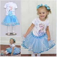 2014 New Summer Frozen Girls Clothing Sets ( Girls T shirts + Blue Skirts ) Princess Frozen Elsa Girls Clothes 5 sets / lot 1174