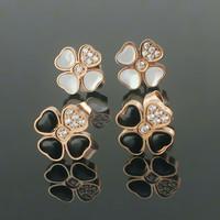 Fashion Four Leaf Clover Luxury Brand Stud Earrings Titanium Stainless Steel Crystal Rhinestone Earing White Shell / Black Stone
