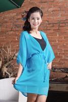Free shipping soft chiffon coat summer wear China wholesale women coat Women transparent chiffon jacket