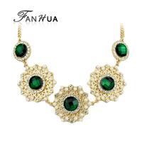 Created Gemstone Jewelry Black Green Pink Boho Necklace Fashion Design Colares Femininos Gold Necklace For Women
