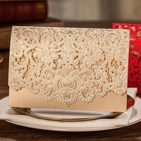 30 Pcs/Lot  Elegant  Laser Cut  Wedding Invitation Cards With Envelope  Hollowing Red Gold  Wedding  Lace Invitation