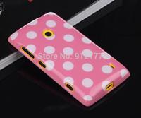 Colorful Polka Dots TPU Soft Case for Nokia Lumia 520 Case + Screen Film