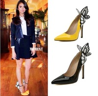 2014 New black yellow Butterfly women pumps fashion sexy bow  pointed toe stiletto high heels shoes woman brand wedding shoes