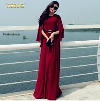 Verragee Autumn Winter Elegant Dress Shawl Sleeve Chiffon Dress Floor Length Long Maxi Dress Party Evening Dresses Women 2014