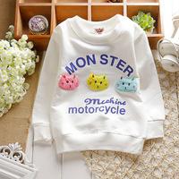 spring unisex boys girlsmonster cat hoody active sporty cotton baby children sweatshirts KT274R
