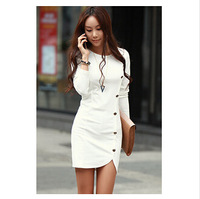 2015 Women  Spring Autumn Knitting Cotton Button Long Sleeve Slim Casual dress  Work Wear Plus Size free shipping